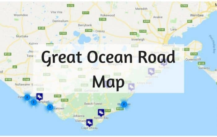Map of The Great Ocean Road Victoria Australia