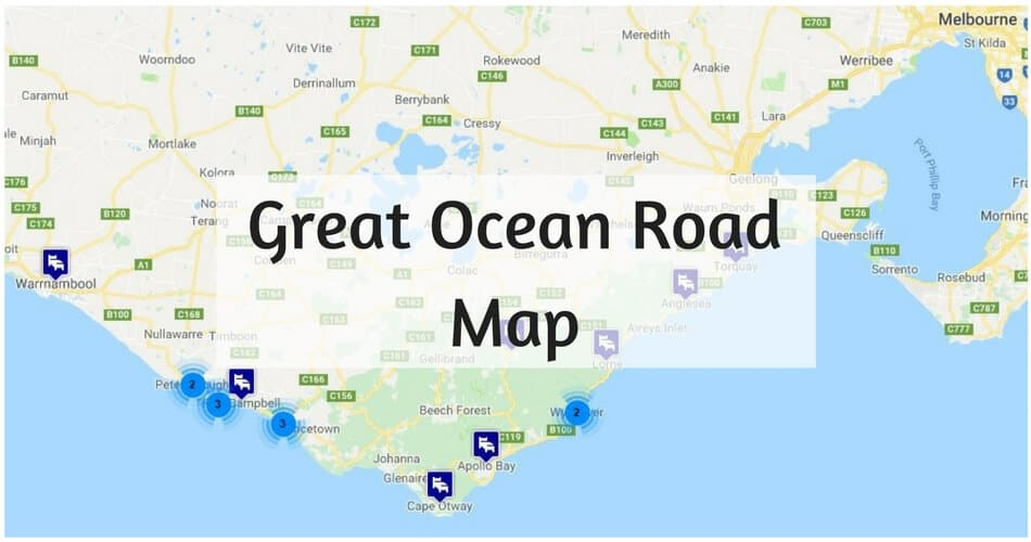 Great Ocean Road Map Map of the Great Ocean Road   Places to Stop & Attractions Great Ocean Road Map