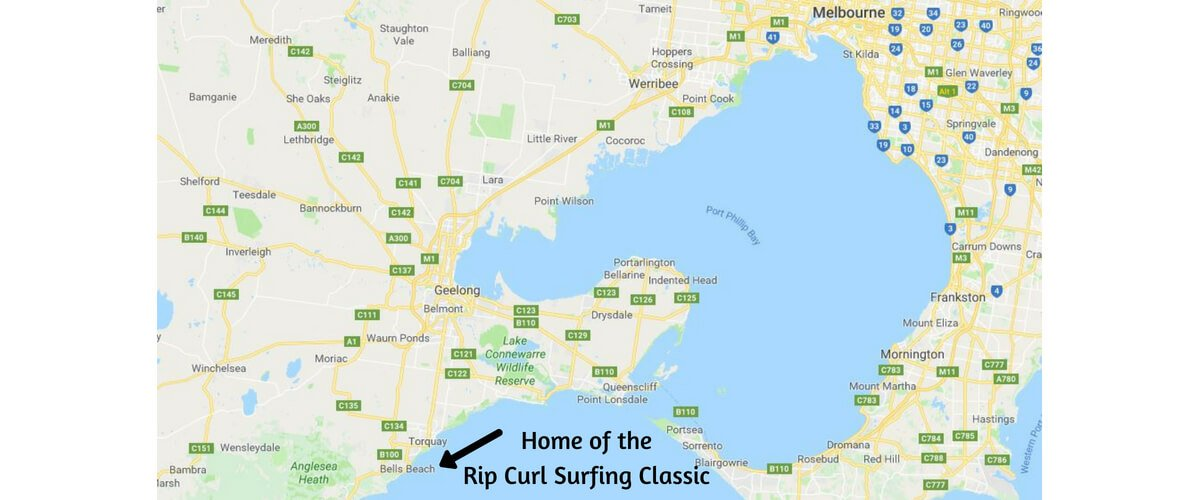Map of the Great Ocean Road - Melbourne to Bells Beach