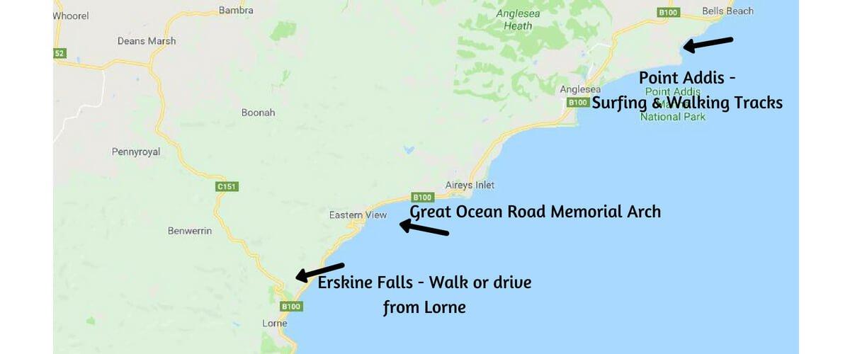 Map of the Great Ocean Road - Torquay/Bells Beach to Lorne